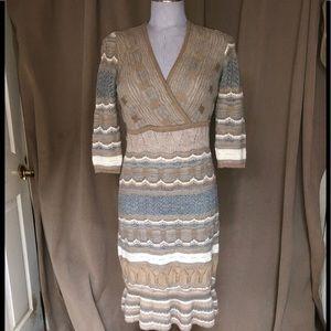 Calypso stunning khaki 100% baby alpaca dress S